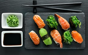 Картинка палочки, соус, суши, роллы