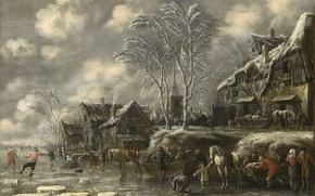 Картинка пейзаж, Зима, картина, Томас Хиреманс