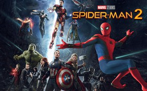 Картинка captain america, spider man, iron man, avengers, black widow, doctor strange