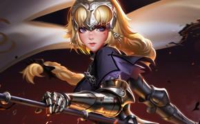 Картинка girl, sword, blood, Fate/Stay Night, soldier, armor, weapon, anime, purple eyes, blonde, digital art, artwork, ...