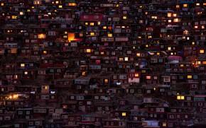 Картинка свет, город, огни, дома, вечер, Китай, трущобы