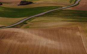 Картинка дорога, холмы, поля