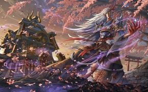 Картинка дерево, ветер, демон, арт, парень, onmyoji, blood season