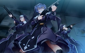 Обои ночь, аниме, девушки, Grisaia: Phantom Trigger, оружие