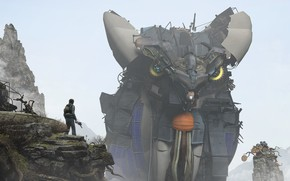 Картинка горы, пистолет, мужик, сооружение, Giant Animal Creations of Garrys Mod