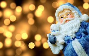 Картинка праздник, новый год, рождество, санта клаус, фигурка, боке