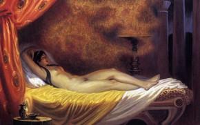 Картинка кровать, Даная, Ольшанский Борис Михайлович, обнаженная женщина