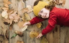 Картинка осень, листья, радость, девочка
