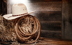 Картинка USA, hat, Style, wooden, country, Texas, cowboy, boots, America, rope, hay, boards, horseshoe, cowboy hat