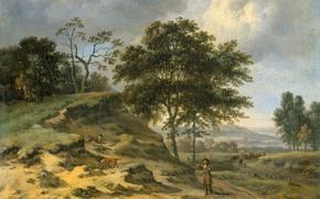 Картинка масло, картина, холст, Ян Вейнантс, Пейзаж с Двумя Охотниками