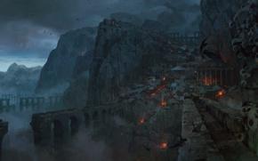 Картинка горы, ночь, город, туман, птица, Path of Exile, аквидук