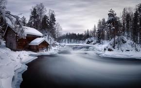 Обои зима, дом, река