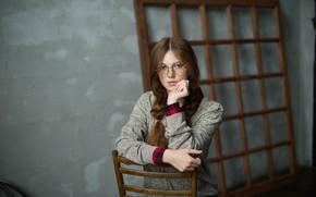 Картинка взгляд, стул, Olga, косы, Vasiliy Zhukov