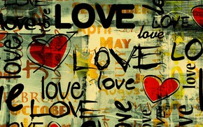 Обои слово, любовь, сердце, буквы, love