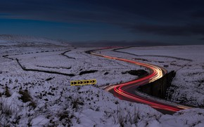 Картинка дорога, поле, ночь, огни