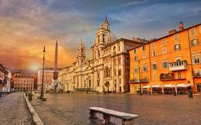 Обои обелиск, Италия, Пьяцца Навона, Рим, скамья, площадь, Фонтан Четырёх Рек