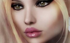Картинка глаза, взгляд, девушка, лицо, рендеринг, губы