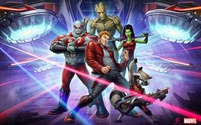 Обои Marvel, Star Lord, Drax, Guardians Of The Galaxy, Groot, Gamora, Rocket Raccoon, Patrick Brown