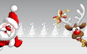 Картинка олень, Новый Год, Рождество, Дед Мороз, открытка