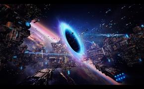 Картинка космос, планета, дыра, портал, exodus