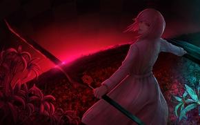 Картинка поле, девушка, цветы, меч, anime, art, tokyo ghoul, Hairu Ihei