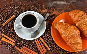 Картинка стиль, кофе, зерна, завтрак, кружка, корица, круассан