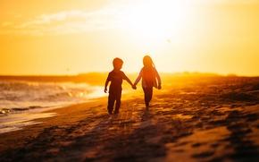 Обои будущее, дети, жизнь, свет, утро, море