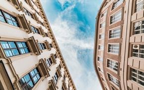 Картинка небо, вид, окна, здания