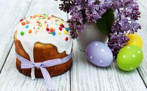 Обои lilac, сирень, Easter, Пасха, глазурь, выпечка, яйца крашеные, eggs, cake, цветы, Happy, spring, flowers, кулич