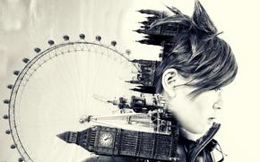 Картинка girl, game, cosplay, England, London Eye, Big Ben, Palace of Westminster, United Kingdom, Overwatch, Tracer, …