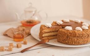 Картинка чай, мед, торт, сахар, медовик