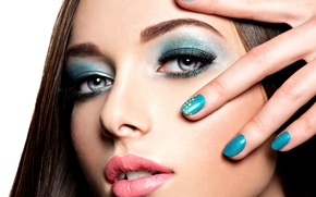 Обои look, hand, fingers, make up