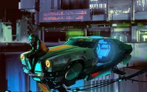 Обои Girl, Car, Art, Sci-Fi, Cyberpunk
