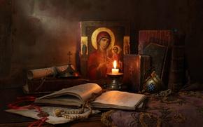 Обои Натюрморт с иконой, Still Life with icon, books and candle, книги и свечи