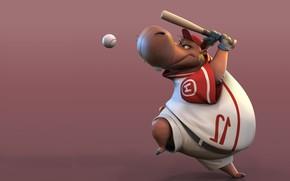 Картинка игра, мяч, бейсбол, арт, бита, детская, бегемотик, Hipo, Arik Newman