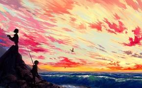 Картинка море, волны, небо, солнце, острова, облака, закат, птицы, widescreen, остров, аниме, мальчик, арт, девочка, панорама, ...