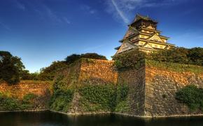 Картинка ров, небо, каменная насыпь, самурайский замок в Осаке, вода, Япония, Осака, деревья
