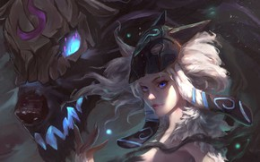 Картинка girl, fantasy, game, magic, monster, art, blue eyes, painting, League of Legends, weapons, artwork, mask, …