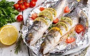 Картинка лимон, рыба, помидоры