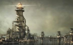 Картинка лодка, маяк, мостики, строения, SERENITY