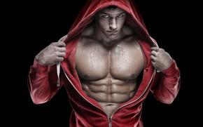 Обои мышцы, атлет, muscle, abs, капюшон, bodybuilder, muscles, пресс, Bodybuilding, бодибилдер