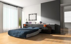 Картинка дизайн, комната, кровать, интерьер, спальня