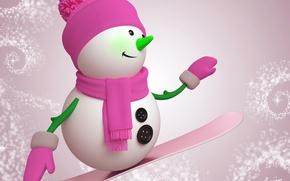 Обои праздник, новый год, рождество, снеговик