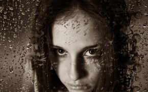 Картинка взгляд, девушка, капли, эмоции, сепия, girl, красивая, raindrops, beautiful eyes, emotions, Kide Fotoart