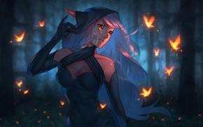 Картинка лес, грудь, девушка, ночь, эльф, дух, платье, арт