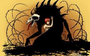 Картинка девушка, монстр, шипы, Mahou Tsukai no Yome, The Ancient Magus' Bride, Elias Ainsworth, Hatori Chise