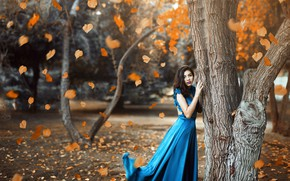 Картинка макияж, платье, листопад, в синем, Ronny Garcia, When the fall is here