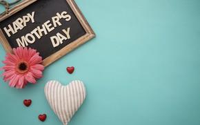 Картинка цветы, сердечки, доска, love, happy, герберы, heart, pink, flowers, spring, gerbera, mother's Day