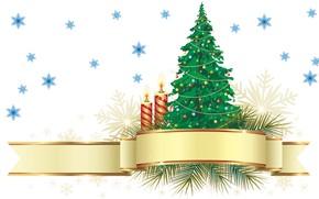 Картинка праздник, новый год, вектор, свечи, арт, ёлочка, снежинка, старый новый год
