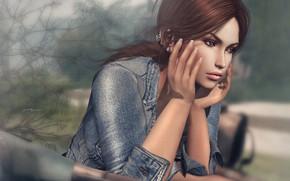Картинка девушка, лицо, фон, волосы, руки